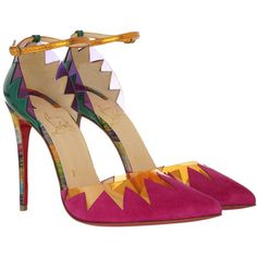 Christian Louboutin Pumps - Pumps Chapito Ho 100 Rosa - in colorful -... (2.686.190 COP) ❤ liked on Polyvore featuring shoes, pumps, colorful, slip on shoes, fringe pumps, pointy-toe pumps, multi-color pumps and slip-on shoes