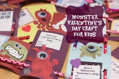 Monster Valentines Day Cards Craft Tutorial #Printables