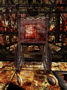 Silent Hill 3 - Red Square - Square Wheelchair - The Hanging Woman at some point use this Wheelchair - Symbolize the Manifestations of the Town