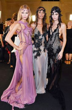 runwayandbeauty:  Karlie Kloss, Joan Smalls & Kendall Jenner - Backstage at Atelier Versace Fall 2015-16 Couture.