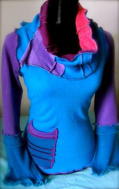Blue  Pixie Upcycled SweaterSmallReady for Ship by LunaBruja, €45.00