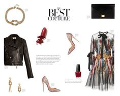 How To Wear - ELIE SAAB by canvas-moods on Polyvore featuring polyvore fashion style Elie Saab The Row Christian Louboutin Victoria Beckham LAQA & Co. clothing leatherjacket ElieSaab HowToWear couture