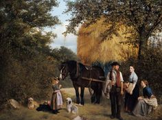 """""""Feierabend der Landarbeiter"""" (1872) von William Edward Millner (1849-1895), britischer Maler."""
