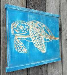 SEA TURTLE Wall Art V-CARVED - Reclaimed Wood. $26.00, via Etsy.