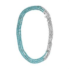 Michael Kors Turquoise Bead & Chain-Link Necklace
