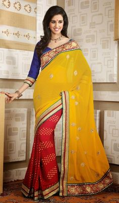 Designer red, yellow chiffon and georgette sari is planned as half n half sari which is perfect for any evening party requirement. First red half of the sari has self woven design and woven laces and that of other yellow half of the sari has woven laces and silk thread embroidered border in zardosi embroidery pattern with scattered embroidered motifs which gives you an alluring look. Sari is finished with green piping. #GorgeousEveningSarees