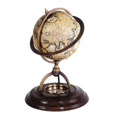 Authentic Models Terrestrial globe with compass. Featuring a terrestrial globe dating back to the century, with bronze mountings and french finished stands. Desk Globe, Map Globe, World Globes, Brass Wood, Bronze, We Are The World, Desktop, Contemporary Home Decor, Joss And Main
