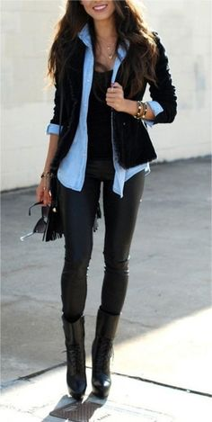 leather leggings, elegante, boots, camisa
