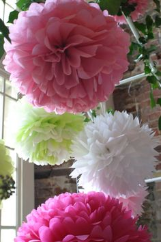 Set of 25 Tissue Paper Pom Poms - Any Colour - Romantic Paper Poms - Wedding - Christening - Birthday - Dessert Table Decorations. £97.00, via Etsy.