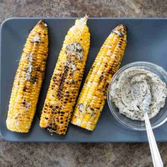 Husk-Grilled Corn with Cilantro-Lime Butter - Cooks Country via KCET Corn Recipes, Veggie Recipes, Chicken Recipes, Vegetarian Recipes, Healthy Recipes, Cooks Country Recipes, Donut Toppings, Corn Dishes, Americas Test Kitchen