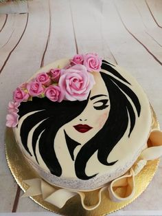 Lady with the roses. Birthday cake for teenagers. Birthday cake for daughters. Beautiful Birthday Cakes, Birthday Cakes For Women, Birthday Cake Girls, Happy Birthday Cakes, Cakes For Ladies, Unicorne Cake, Cake Icing, Cake Art, Girly Cakes