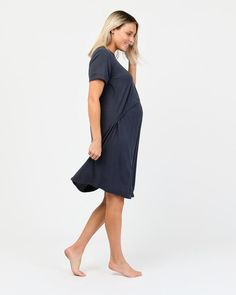 Soft, comfortable and simple; the Belle Nightdress sees you through your pregnancy and beyond. A hospital bag essential, this nightdress features a concealed elastic layer allows you to nurse once baby arrives. Our organic bamboo fabric brings a variety of desirable features; breathability, hypoallergenic, antimicrobial and thermoregulating to ensure you're always at a comfortable temperature.  Organic bamboo Mid-length sleeves Knee length Thermoregulating sleepwear Hospital Bag Essentials, Technology Design, Mid Length, Bamboo, Pregnancy, Maternity, Bring It On, Dresses For Work, Organic