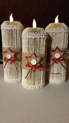 Merry Christmas wishes: These are really lovely festive - . Merry Christmas Wishes: These are really lovely festive – Source by m Old Book Crafts, Book Page Crafts, Newspaper Crafts, Holiday Crafts, Merry Christmas Wishes, Magazine Crafts, Recycled Books, Book Folding Patterns, Folded Book Art