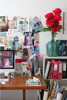 office desk decor details, inspiration board