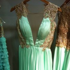 Wow! For a bridemaid dress. Awesome. Seafoam and Gold Dress! #seafoam #gold #wedding #dress    this is the dream dress