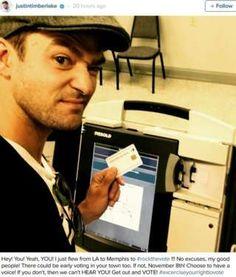 """Image copyright                  Instagram                                                     Justin Timberlake tan sólo pretendía incentivar el voto de sus 37 millones de seguidores en Instagram para que participaran en las elecciones presidenciales de Estados Unidos pero, probablemente sin saberlo, cometió algo ilegal. """"Acabo de volar desde Los Ángel"""