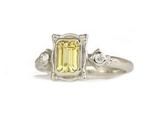 picture frame white gold with yellow sapphire
