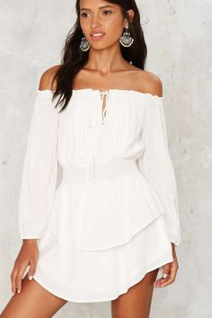 Stretch the Rules Off-the-Shoulder Dress - Clothes | Rompers + Jumpsuits | Summer Whites | Off The Shoulder | Rompers