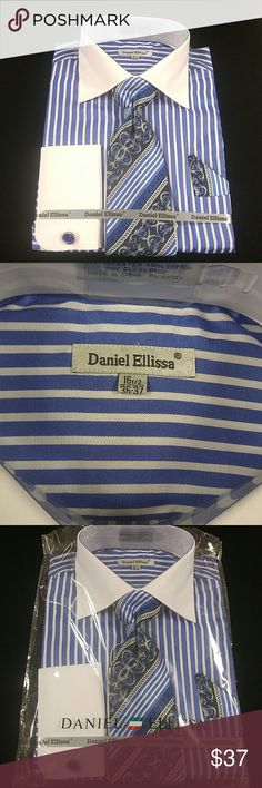 MEN'S REGULAR FIT DRESS SHIRT. SIZE 16.5 Combination shirt, tie, pocket square with french cuffs. 55% polyester, 45% cotton. REGULAR fit SIZE 16.5x36-37. Royal blue with white stripes and white collar. Brand new in the bag. DANIEL ELLISSA Shirts Dress Shirts
