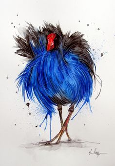 A painting of a Pukeko by Fiona Clarke. Artist Painting, New Zealand Art, Art Painting, Art For Art Sake, Painting, Bird Artwork, Art, Bird Art, Nz Art
