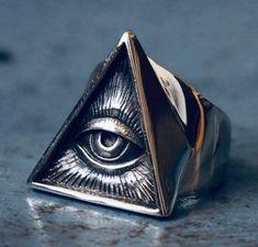 Freemason Ring, Masonic Jewelry, Viking Jewelry, Pyramid Eye, Triangle Ring, Triangle Eye, Rings Cool, Stainless Steel Jewelry, Men Rings