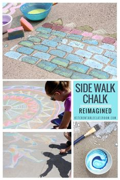 You know that dirty sidewalk chalk in a bucket in the garage? Go get it and get ready to use it for these imaginative ideas to get your kiddo thinking and making big!