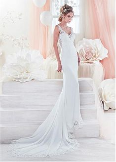 Fantastic Tulle & Acetate Satin V-neck Neckline Cut-out Sheath/Column Wedding Dresses With Lace Appliques