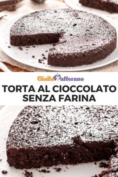 Torta al cioccolato senza farina. Gluten Free Chocolate Cake, Chocolate Recipes, Sweet Recipes, Cake Recipes, Dessert Recipes, Gluten Free Cakes, Gluten Free Recipes, Tortilla Sana, Italian Chocolate