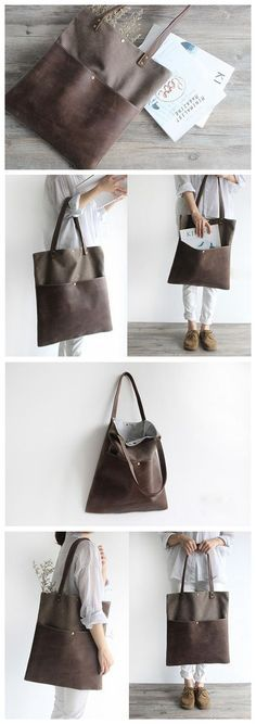 04633f05b0f6 Handmade Waxed Canvas and Leather Tote Bag Women s Handbag Casual Satchel  16006 Borse In Pelle Fatti
