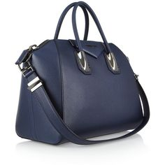 Givenchy Medium Antigona bag in navy leather ($2,970) ❤ liked on Polyvore featuring bags, handbags, tote bags, navy blue leather purse, genuine leather tote, leather zipper tote, leather handbags and zippered tote