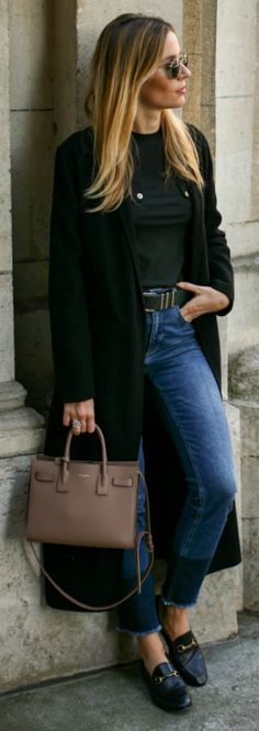 Manon Durst + rocking + super chic loafer style + bottle green maxi coat + high waisted cropped jeans + plain tee + ideally with loafers + understated yet sophisticated aesthetic.   Coat: Maje, Jeans: Anine Bing, Tee: Zara, Bag: Saint Laurent, Shoes: Gucci.