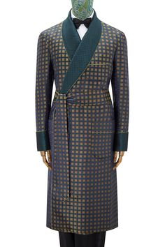 640d067a6c7c6 Navy Yellow Jacquard Square Lined Silk Dressing Gown