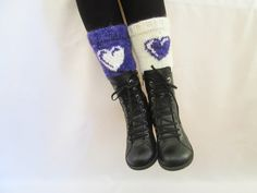 Boot Cuffs, Knitted boot cuffs, Purple and White , Two in One, Leg Warmer, Very Long Cuff, Garnished with heart pattern, With Free Gift by IMUNIVERSE on Etsy
