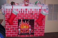 Vintage Mid Century Cardboard Christmas Fireplace We had one that my Dad made from wood then he put real fire wood in it with a red light bulb. Diy Christmas Fireplace, Christmas Swags, Christmas Scenes, Christmas Items, Christmas Photos, Christmas Fun, Vintage Christmas, Fake Fireplace, Office Christmas