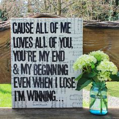 "I might plan my vow renewals just to have this song... =)  So pretty as wedding decor - 16x20  lyrics from ""All of Me"" by  John Legend.  Hand stamped/create on canvas and vintage sheet music by Houseof3,"