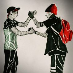 I really like how this twenty one pilots fan art is simple but shows many different textures.