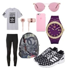Untitled #18 by eua-anagnwstou on Polyvore featuring polyvore, fashion, style, adidas, Chanel, Oliver Peoples and clothing