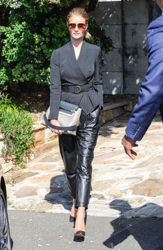 Rosie Huntington-Whiteley in leather pants a crisp jacket