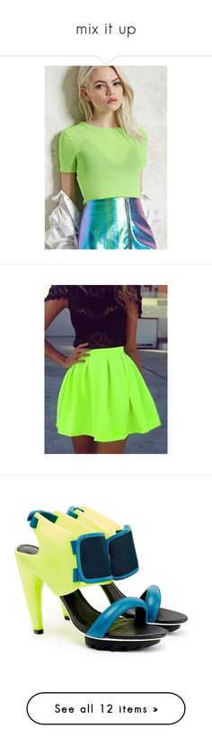 """""""mix it up"""" by melange-style ❤ liked on Polyvore featuring tops, neon green, short sleeve crop top, sheer mesh top, green crop top, cut-out crop tops, crew neck crop top, skirts, outfits and dresses"""