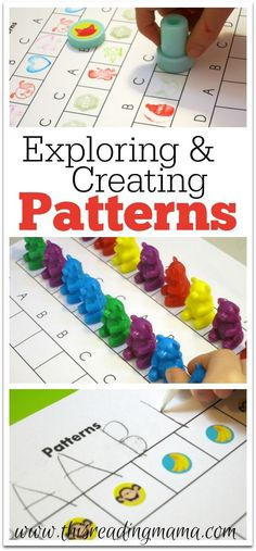 Exploring and Creating Patterns for preschool and Kindergarten - FREE printable included! This Reading Mama Patterning Kindergarten, Kindergarten Centers, Math Centers, Preschool Kindergarten, Grade 2 Patterning Activities, Learning Centers, Math For Kids, Fun Math, Math Activities