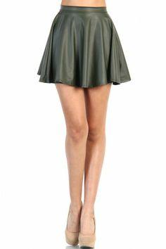 Leather Look Skater Skirt - Green