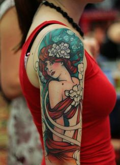 Alfons Mucha Tatuajes Art Nouveau