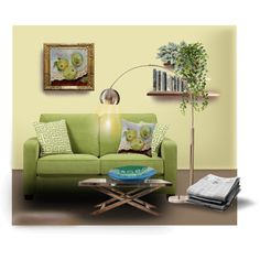 Green apple. Green for living room. The home set  created by Canis Art Studio,  Canvas art & fused glass. #green #apple #canvasart #glass #pillow #canisart