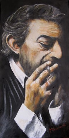 """""""Gainsbourg II"""": Oil on canvas by Marc Haumont - 80x40x4 cm - Song, minor artistic form ? - 01/2012"""
