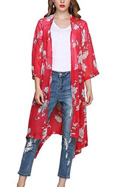 5fbb434498d Hibluco Women s Sheer Chiffon Floral Kimono Cardigan Long Blouse Loose Tops  Outwear