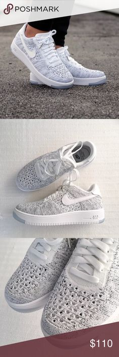 Women's Nike Air Force 1 Low Flyknit Low Sneakers Women's Nike Air Force 1 Low Flyknit Low Sneakers features the engineered knit upper for the first time, making the legend lighter than ever. Style/Color: 820256-103  • Women's size 9  • NEW in box (no lid) • No trades •100% authentic Nike Shoes Sneakers