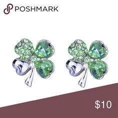 Lucky Clover Earrings Green Crystal four leaf clover earrings. Sending luck your way. Jewelry Earrings