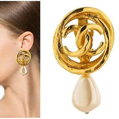 Pre-owned Chanel Earrings - Pearl Drop Cc Gold Clip-on Vintage Ear... ($499) ❤ liked on Polyvore