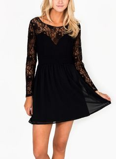 Get your flirt on in this feminine, partially lined, long sleeve frock.