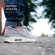 #nike #nikePRM #airmax1 #AM1  Nike Air Max PRM 'Buttery' Nubuck-The silhouette of this Nike Air Max 1 is equipped with buttery nubuck and a slick gumsole. A crisp, white midsole splits things up at the bottom.  Now online available   Priced at 139.95 EU   Men sizes 40- 46 EU